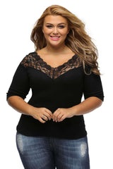 Plus Size Women's Black Sexy Lace V-Neck Tops T Shirt Party Hollow Out Blouses Feminine