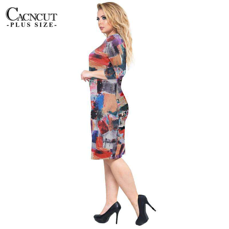 Ladies Plus Size Print Vestidos Bandage Dress Vintage Office Dress Work e8859f9ed493