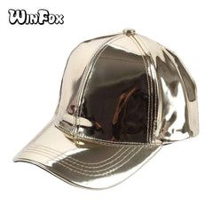 Women/Men New Fashionable Sexy Shiny Silver Color Laser Metallic Leather Baseball Caps Hats