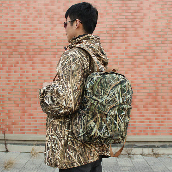 Unisex Outdoor Soft Bionic Reed Camouflage Hunting Backpack - noviena.com
