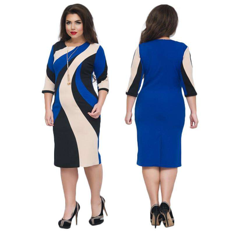 NEW Ladies Midi Pencil Dress Printed Office Bodycon Bandage Dress ...