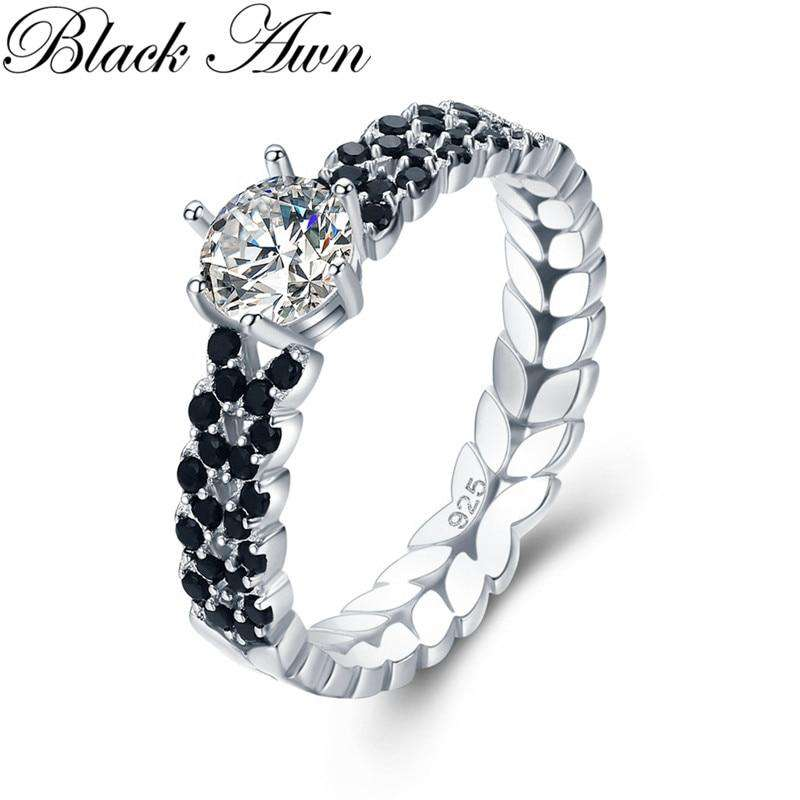 Fashion Women s Black Spinel Personalized Leaf Engagement Rings Office 2.1g  925 Sterling Silver Jewelry de2e11f7a