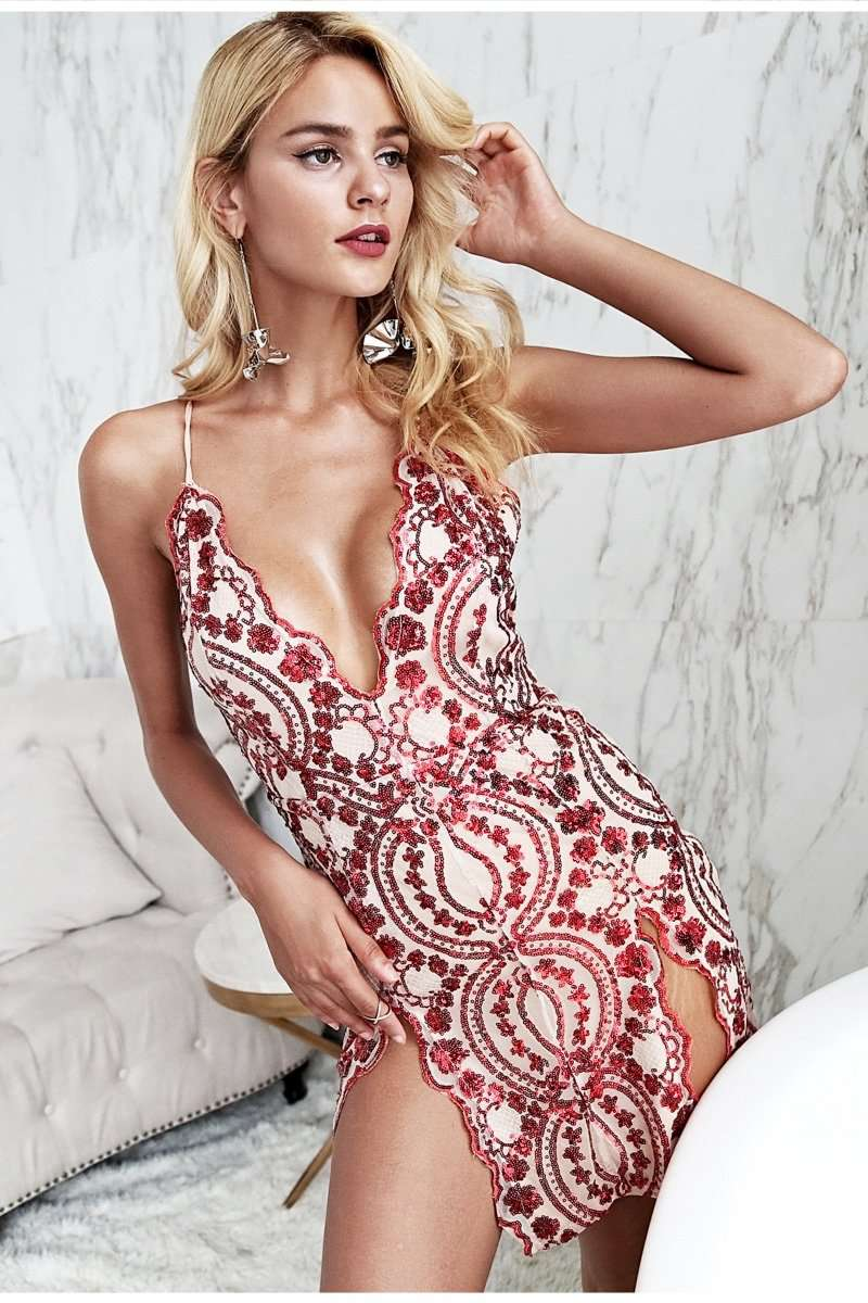 a8afbde62cf8 Ladies Sexy Split embroidery backless strap mesh sequin party Deep v neck  dresses mini dress bodycon