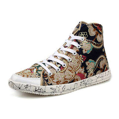 Men's Casual Camouflage Lace Up Canvas Floral Sneaker Shoes High Top Floral Pattern