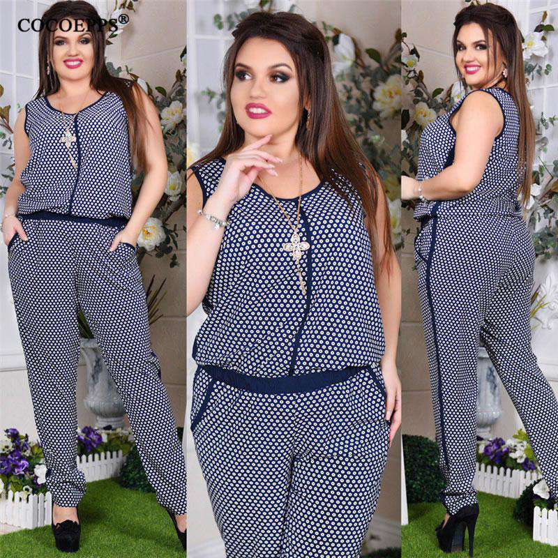 Women\'s Floral Print Jumpsuit Sleeveless Big Size Romper overall Casual 5XL  6XL Plus Size