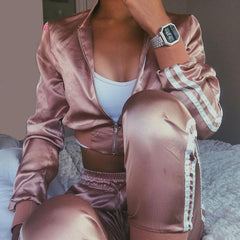 Women's Sexy Side Stripe Zipper Satin Sets Tracksuits Streetwear