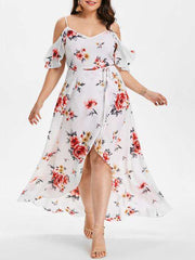 Women's Floral Cold Shoulder Plus Size Overlap Dress Spaghetti Strap Beach Clothing Robe