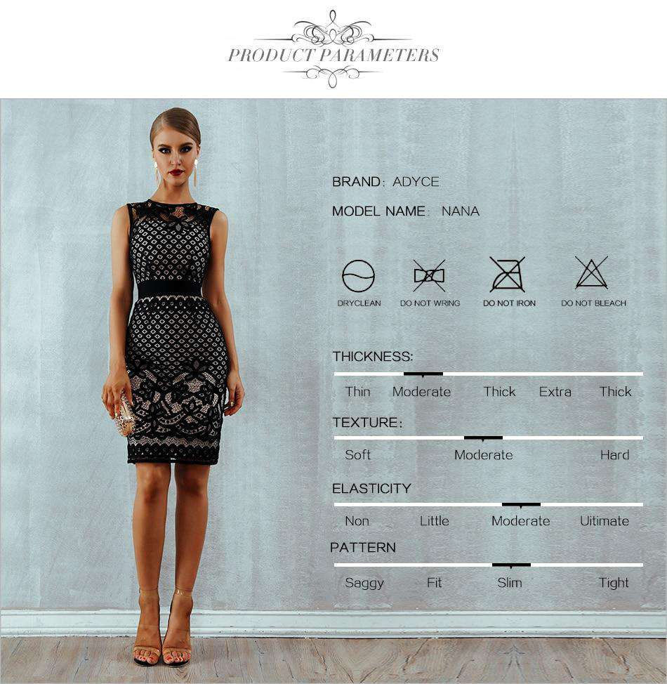 5fa06b47ee0 Sexy Elegant Bandage Black Lace Bodycon Floral Dress Hollow Out Women Dress  Celebrity Club Evening Party