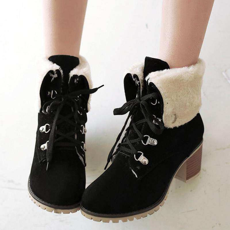 0af9b4d9b2 Winter Warm Ladies Thick Fur High Heels Ankle Boots Women Short Boots With  Fur Shoes Women