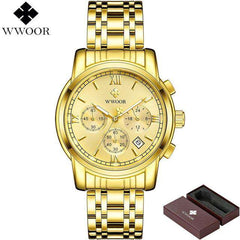 Men's Gold Chronograph Business Quartz Watch Mens Watches Stainless Steel