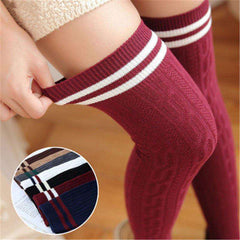 New Fashion Women's Sexy Long Cotton Thigh High Over The Knee Socks Stockings For Girls Ladies Women