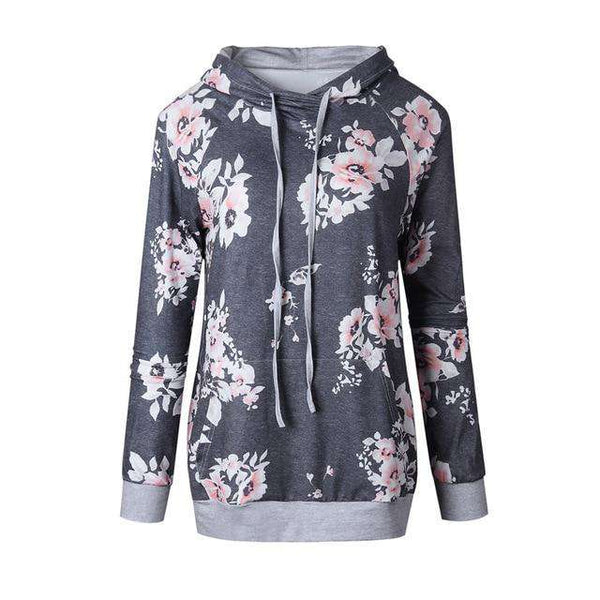 Autumn Winter New Fashion Casual Floral Gray Hooded Sweatshirt Clothing - noviena.com