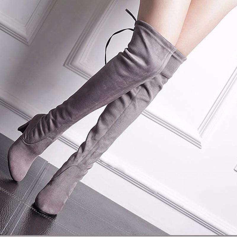 50595db31f1f New Sexy Fashion Women s Lace Up boot Suede Over The Knee Boots Sexy High  Heels Shoes