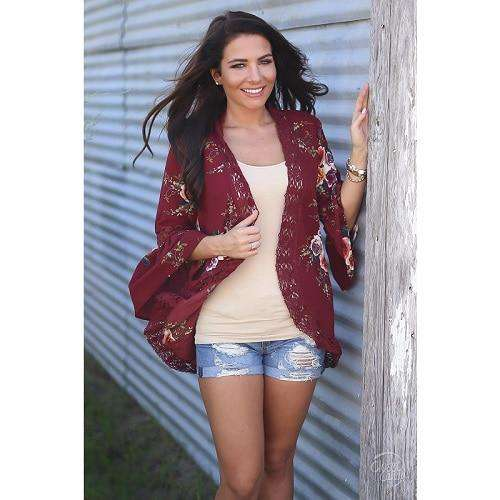 Floral Kimono Lace Spliced Cardigan clothing