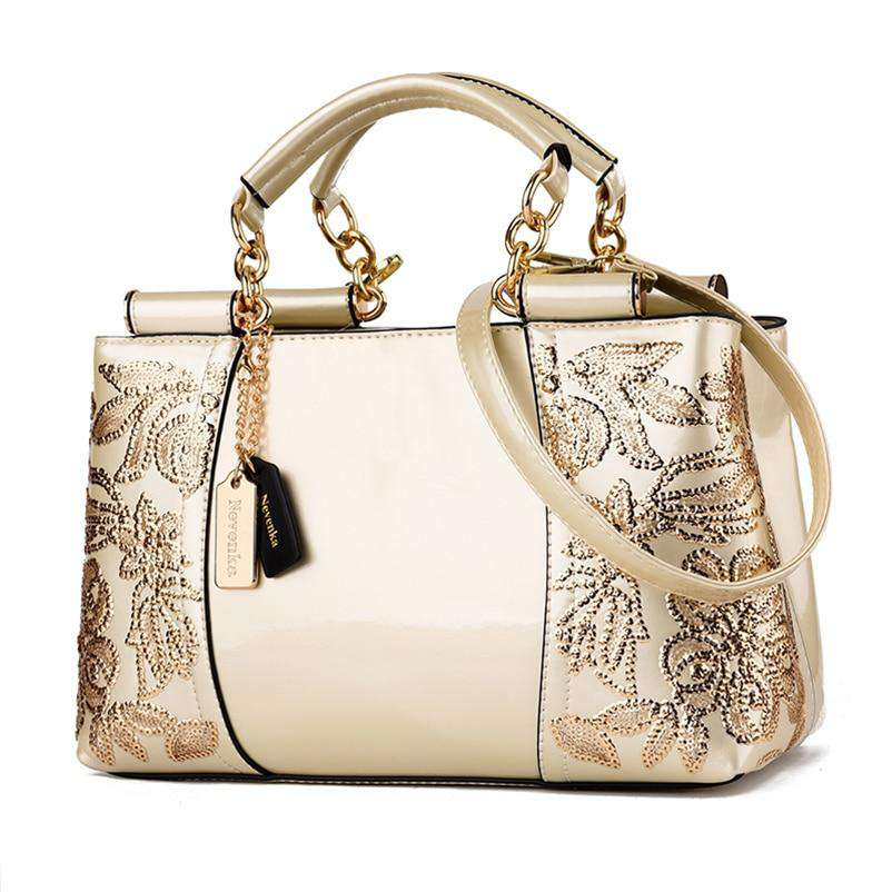 4a8d04fc2e00 Luxury Ladies Evening Floral Leather Shoulder Bags Handbag Embroidery Bags  Female Purses and Handbags with Sequins
