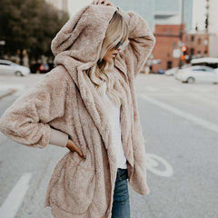 Autumn Winter Women's Fur Coat Hoodie Long Shaggy Coat Cardigan Warm Coat