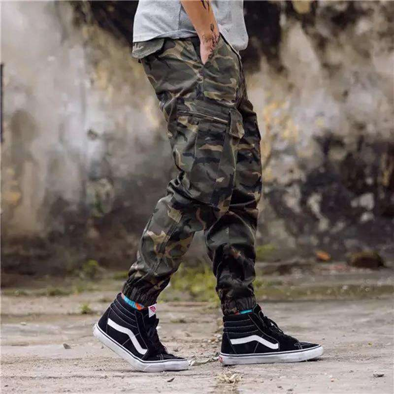 eff99aa302ac Men s Fashion Jeans Jogger Streetwear Camouflage Pants Youth Casual Ankle  Army Banded Pants Brand Boot Cut