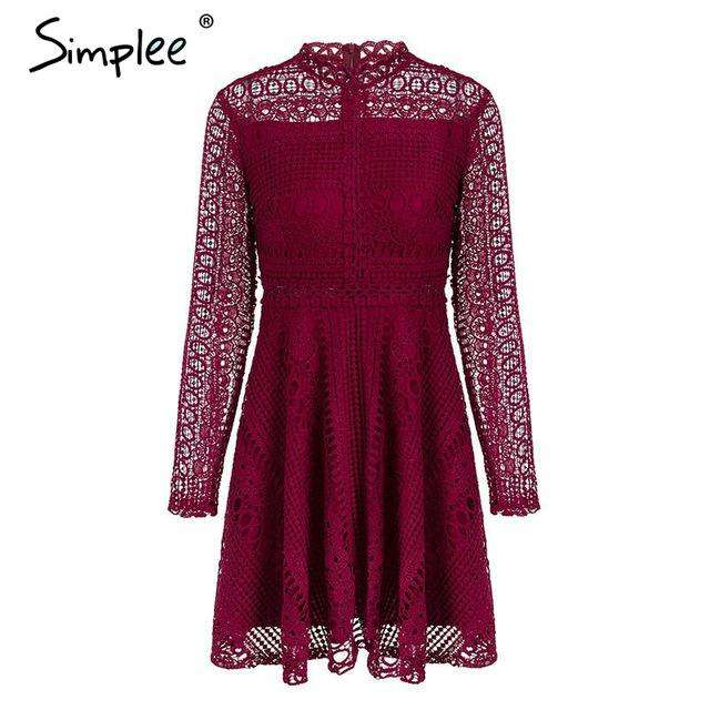 1e238ea50cdb9 2018 Autumn winter Ladies Lace water soluble Elegant long sleeve sexy dress  hollow out women dress