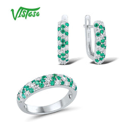 Women's Green Spinels White CZ Stones  Earrings Ring Jewelry Sets