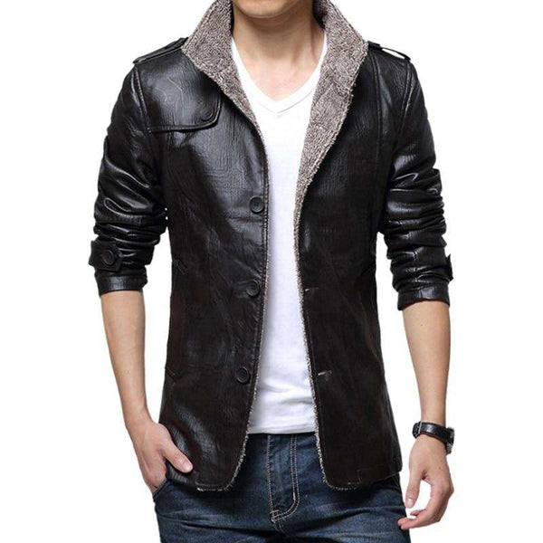 Mens' Leather Wool Jacket