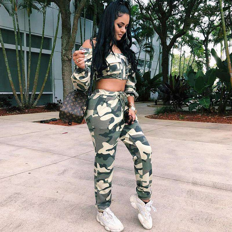 b22ebe2813ab2 Noviena Women's Off Shoulder Camouflage Sexy Matching TWO PIECE SET Crop  Top Outfits Clothing Camo Military