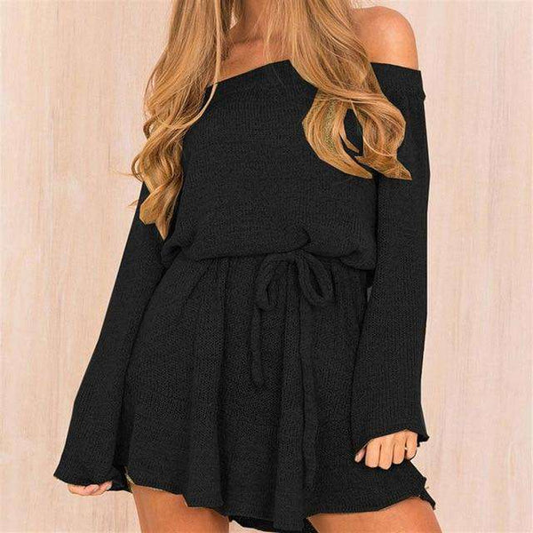 Winter sexy shoulder hip dress