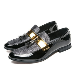 Men's PU Leather Flat Formal Patchwork Shoe