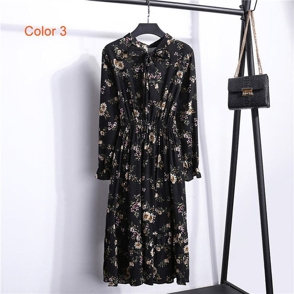 Women's High Elastic Bow A-line Chiffon Waist Floral Bohemian Party Dress Clothing