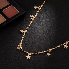 Women's Long Five Pointed Star Pendant Necklace Jewelry