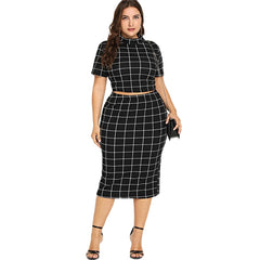 Women's Two Pieces Plus Size Plaid Crop Top And Skirt Set