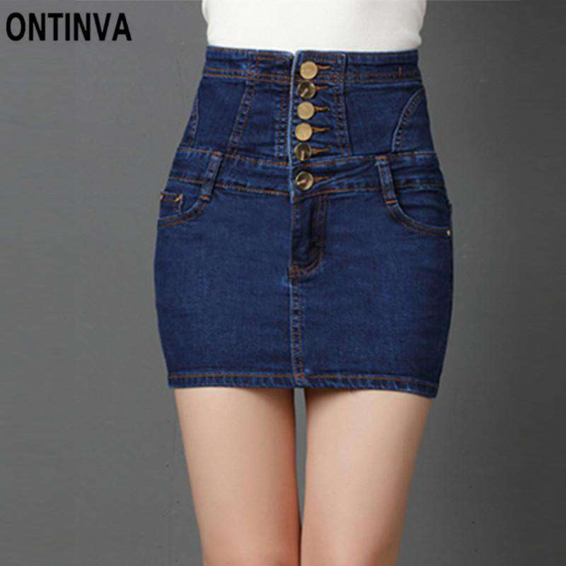 9e27d51e9 Women's Mini Sexy Denim High Waisted Skirts Package Hip Pencil Jeans Back  Lace Up Design Summer