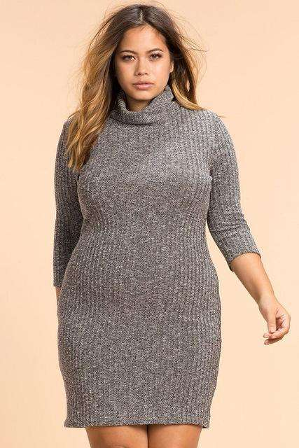 Winter Plus Size Knitted Women\'s Dress Bodycon Bandage Dress Black Party  Warm Dress