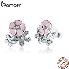 Women's  Poetic Daisy 925 Sterling Silver  Pink Flower Cherry Blossom Drop Earrings Mixed & Clear CZWomen ANNIVERSARY SALE 2018 PAS461