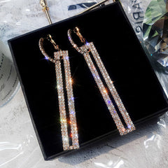 Women's Long Geometric Drop Rhinestone Earring