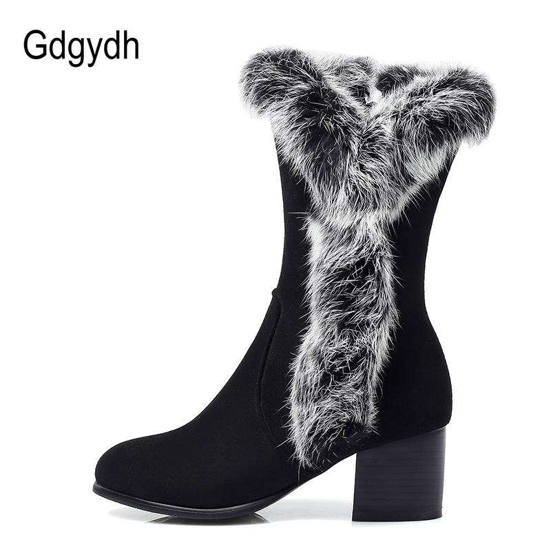 fa3a6839ff3 Women s New Winter Warm Snow Boots Zipper Rubber Sole Shoes Ladies Shoes  Heels Women Outside Shoe