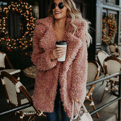 Fashion Winter Women's Thick Warm Fluffy Pink Teddy Faux Fur Coat Jacket Streetwear Furry Overcoat