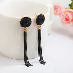 Women's Black Rhinestone Dangle Hanging Long Drop Earrings Jewelry