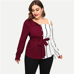 Women's Plus Size Open Shoulder Belted Striped Panel Long Sleeve Blouse