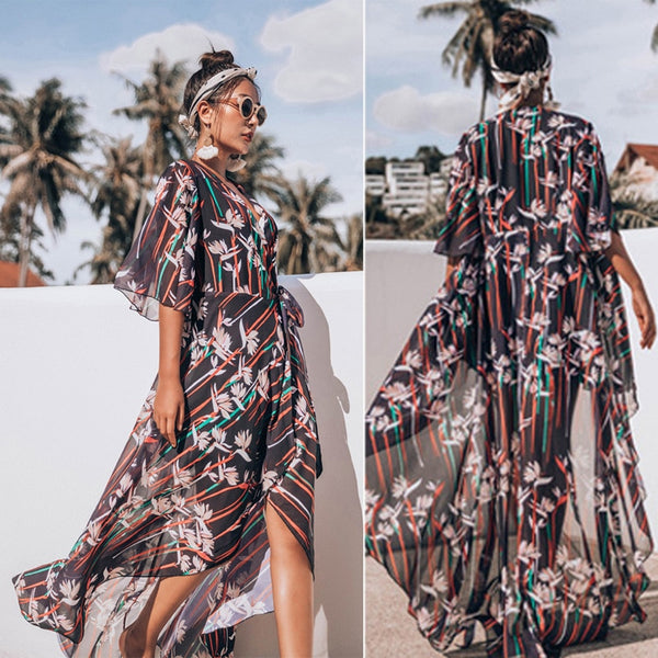 Women's Beach Clothing Cover Up Bohemian Chiffon Maxi Dress - noviena.com