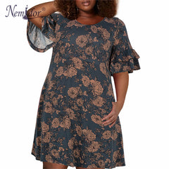 Women's Plus Size Floral Ruffles Party Stretchy Dress Clothing