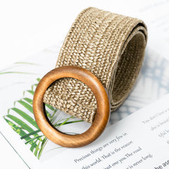 Women's Wooden Button Elastic Straw Belt