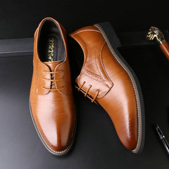 Men's Point Leather Oxford Official Shoes