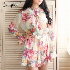 Women's sexy floral print ruffled jumpsuit romper clothing