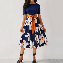Women's Floral Print A Line Midi Dress Clothing