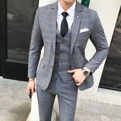 Men's Classical Plaid Slim Fit British Dress Wedding Suit