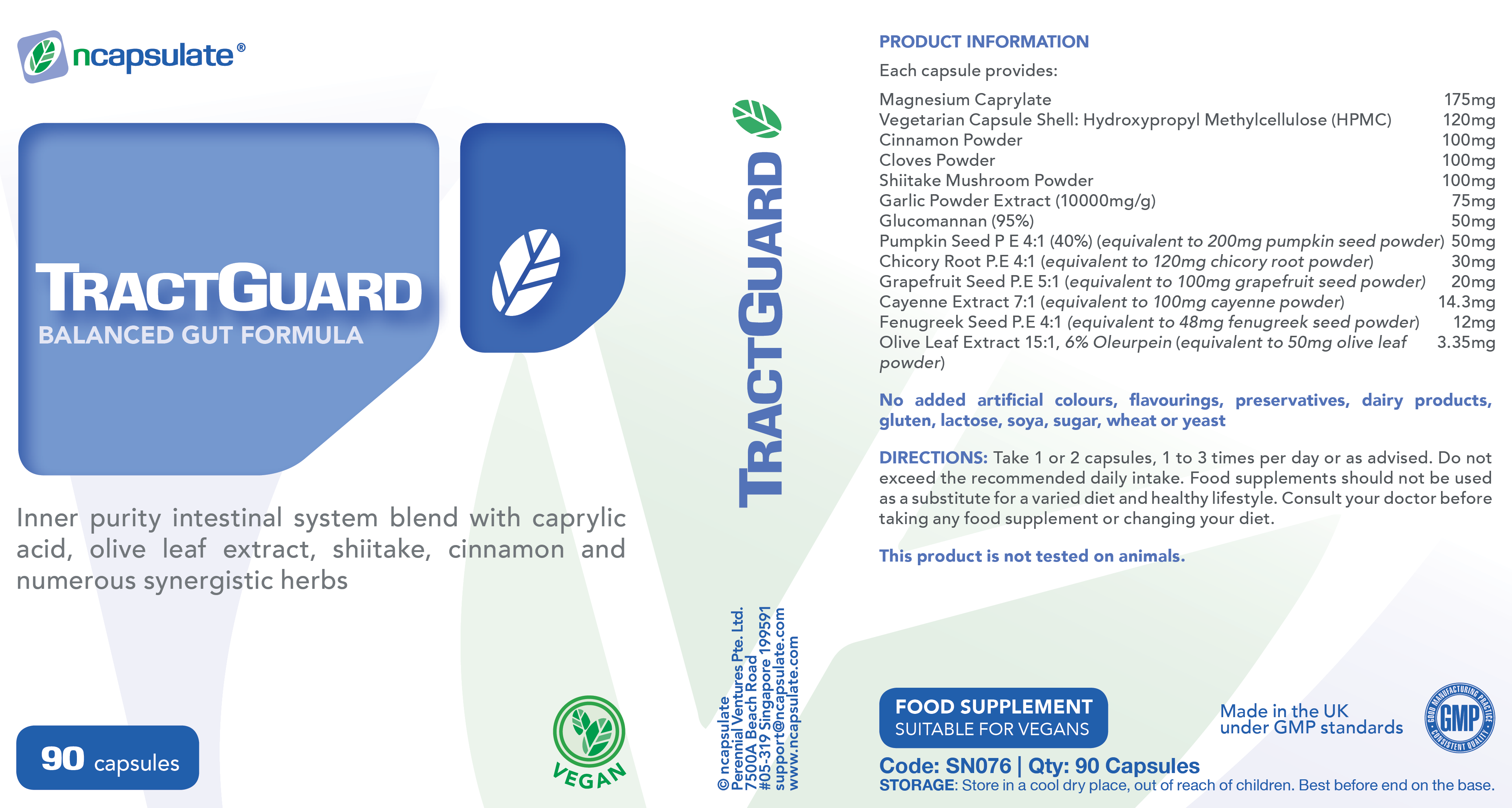 ncapsulate® TRACTGUARD Premium Health Supplement Product Label