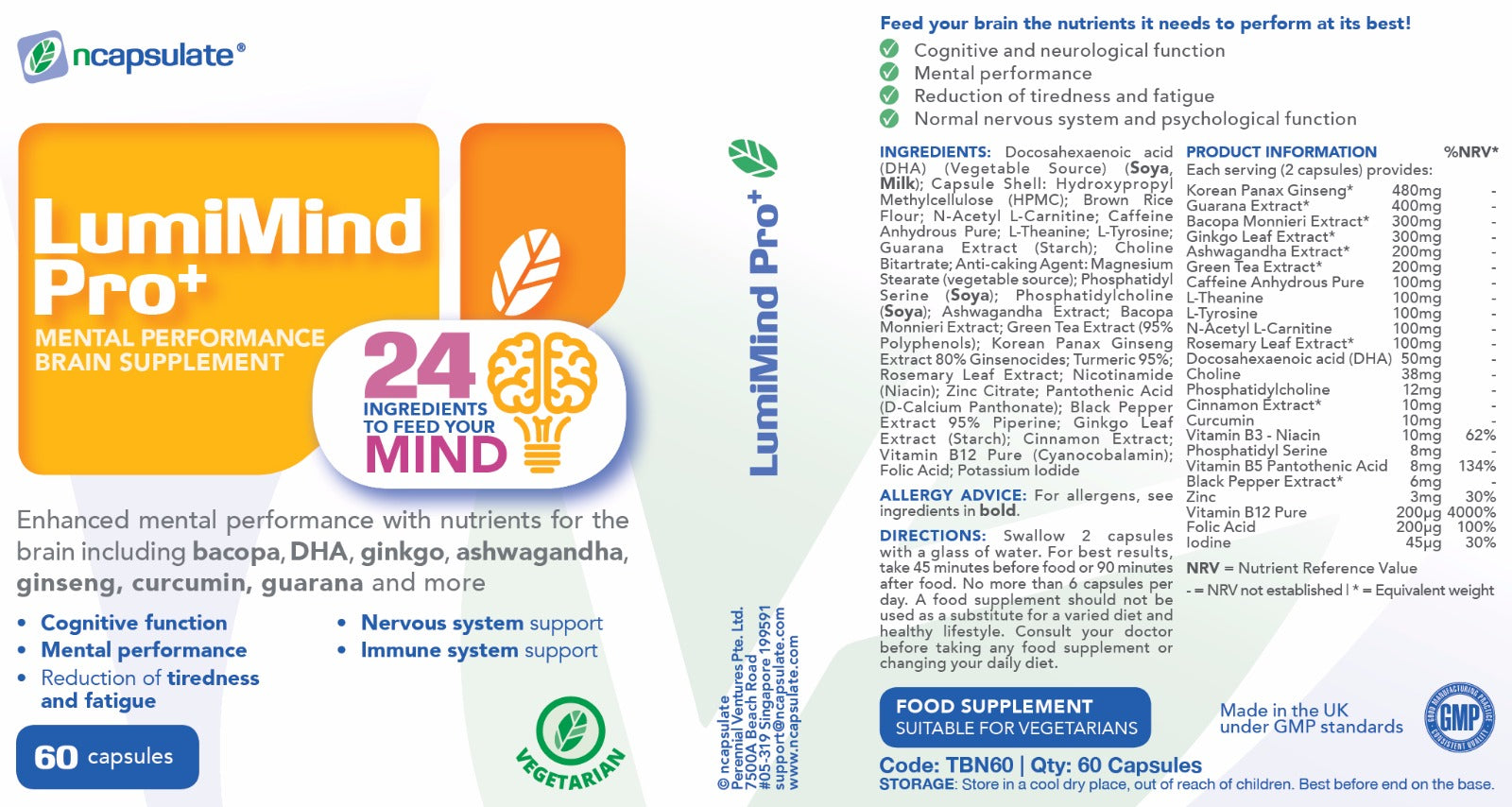 ncapsulate® LUMIMIND PRO+ Premium Health Supplement Product Label