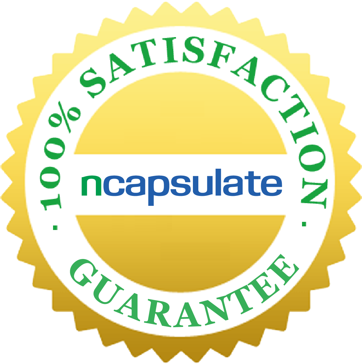 ncapsulate® Premium Health Supplements - 100% Satisfaction Guarantee Badge