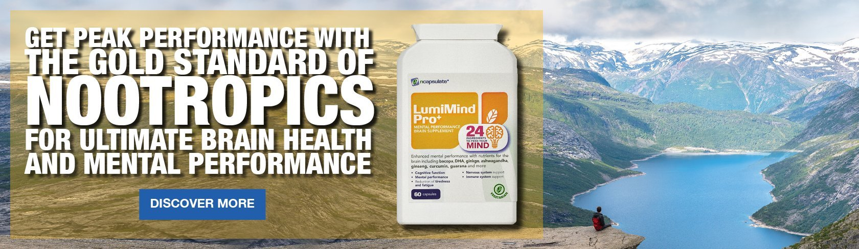 ncapsulate® Premium Health Supplements - LumiMind Pro+ Brain Supplement Nootropics Banner