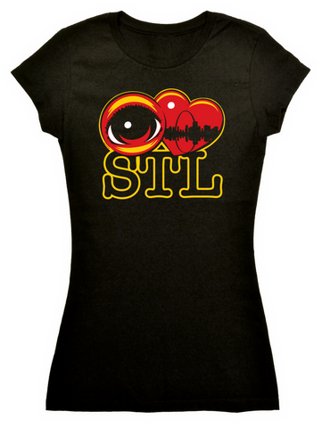 EYE Heart STL Black Tee - Ladies